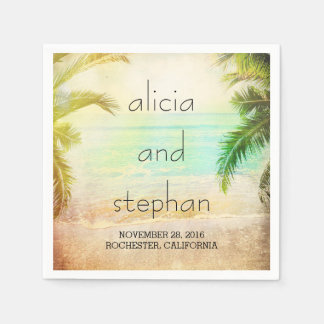 sunset beach romantic palms wedding disposable napkin