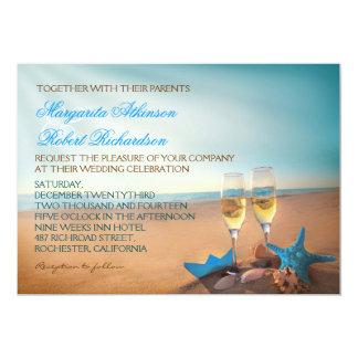 Sunset Beach Romantic Turquoise Wedding Invitation