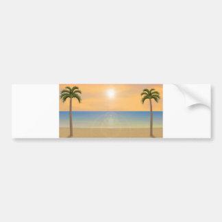 Sunset Beach Scene: Bumper Sticker