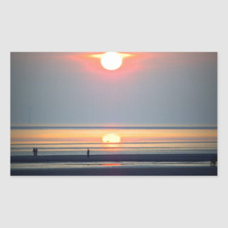 Sunset Beach Scene, Crosby, Liverpool UK Rectangular Sticker