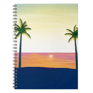 Sunset Beach Scene Spiral Notebook