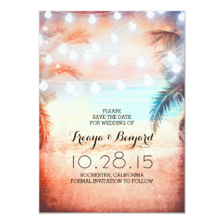 Sunset Beach & String Lights Save the Date Card