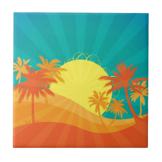 Sunset Beach tropical retro surf design Tile