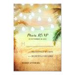 sunset beach twinkle lights tropical wedding RSVP 9 Cm X 13 Cm Invitation Card