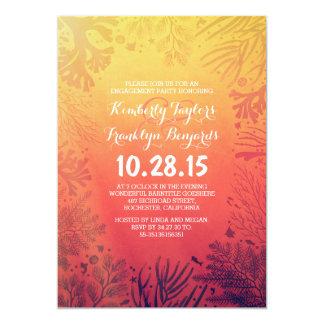 Sunset Beach Underwater Corals Engagement Party Card