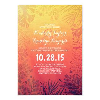 Sunset Beach Underwater Ocean Corals Frame Wedding Card