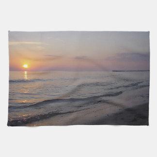 Sunset Beach Waves, Serene and Peaceful Coast Tea Towel