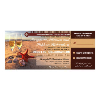 Sunset beach wedding boarding pass invitations