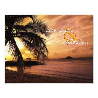 Sunset Beach Wedding RSVP 11 Cm X 14 Cm Invitation Card