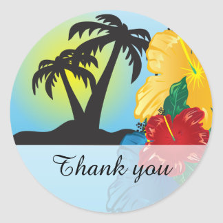 Sunset Beautiful Tropical Paradise Classic Round Sticker