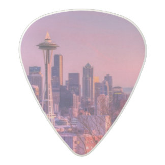 Sunset behind Seattle skyline from Kerry Park. Acetal Guitar Pick