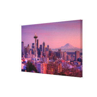 Sunset behind Seattle skyline from Kerry Park. Canvas Print