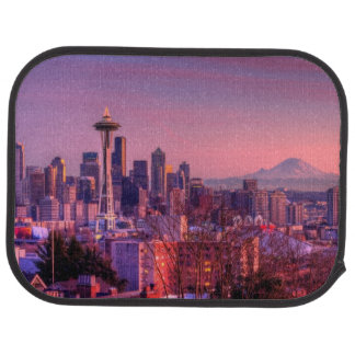 Sunset behind Seattle skyline from Kerry Park. Car Mat
