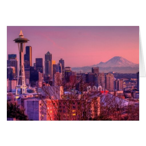 Sunset behind Seattle skyline from Kerry Park. Cards