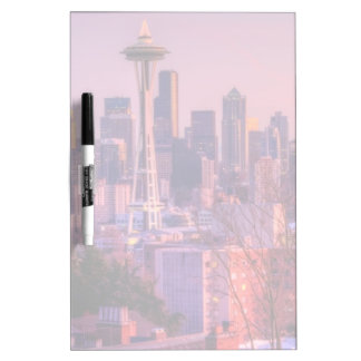 Sunset behind Seattle skyline from Kerry Park. Dry Erase Board
