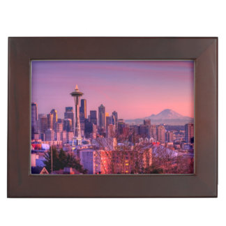 Sunset behind Seattle skyline from Kerry Park. Keepsake Box