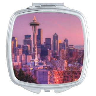 Sunset behind Seattle skyline from Kerry Park. Mirror For Makeup