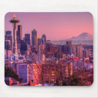 Sunset behind Seattle skyline from Kerry Park. Mouse Mat