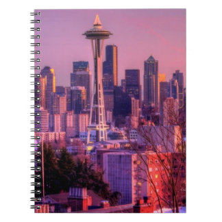 Sunset behind Seattle skyline from Kerry Park. Note Book