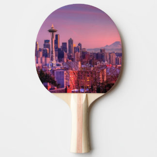 Sunset behind Seattle skyline from Kerry Park. Ping Pong Paddle