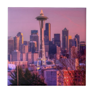 Sunset behind Seattle skyline from Kerry Park. Small Square Tile