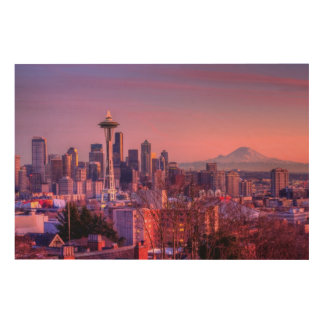 Sunset behind Seattle skyline from Kerry Park. Wood Wall Art