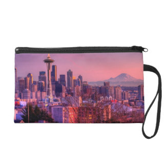 Sunset behind Seattle skyline from Kerry Park. Wristlet