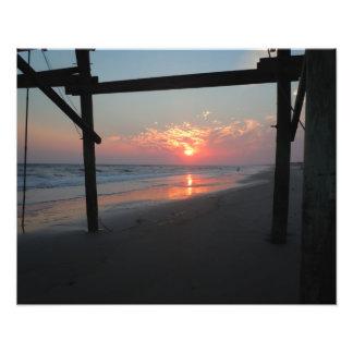 Sunset Beneath the Pier - Oak Island, NC Photo