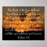 sunset bible verse Joshua 1:8 Poster
