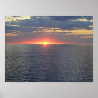 Sunset Blue Ocean Poster
