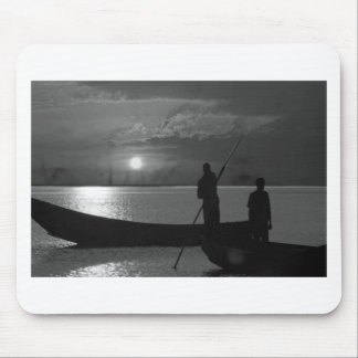 Sunset Boat Art Template easy add TEXT Greeting 99 Mouse Pad