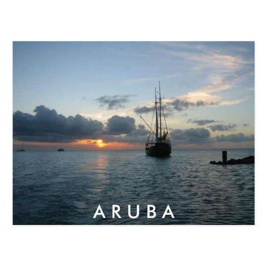 Sunset & Boat in Aruba Postcard