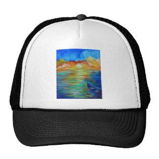 Sunset boat over lake impressionism cap
