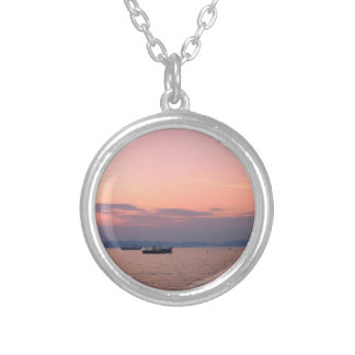 Sunset Boats Sea Silver Plated Round Necklace