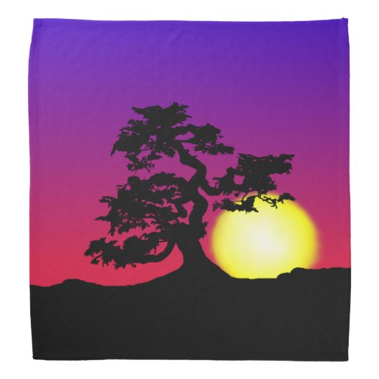 Sunset Bonsai Silhouette Bandanna