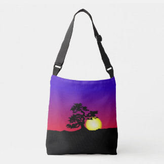 Sunset Bonsai Silhouette Crossbody Bag