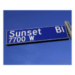 Sunset Boulevard sign against a blue sky
