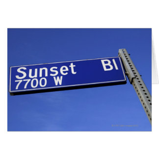Sunset Boulevard sign against a blue sky Greeting Card