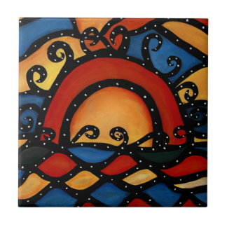 Sunset Bright Ceramic Tile From Original Painting