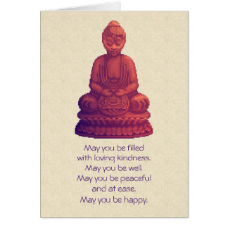 Sunset Buddha Pixel Art Card