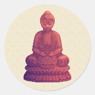 Sunset Buddha Pixel Art Round Sticker