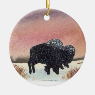 Sunset Buffalo Painting Christmas Ornament