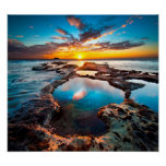 Sunset By Sea Poster