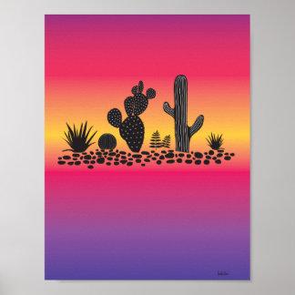 Sunset Cactus Succulent Art Poster