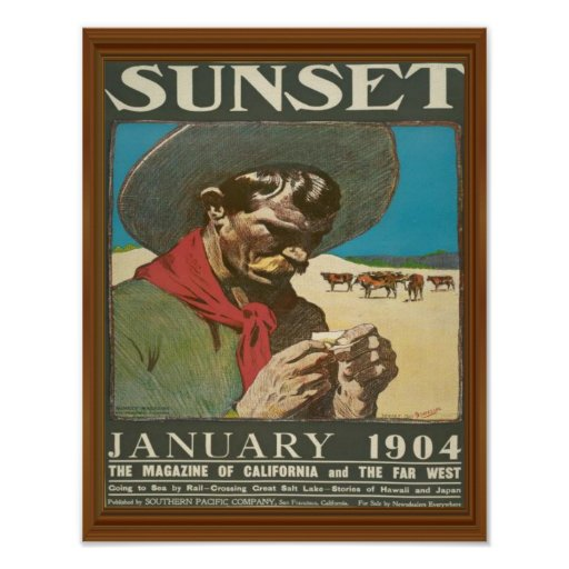 Sunset California Cowboy Vintage Magazine Cover Poster