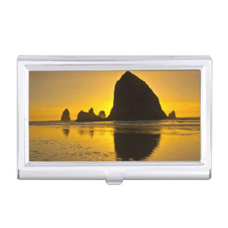 Sunset, Cannon Beach, Oregon, USA Business Card Holder