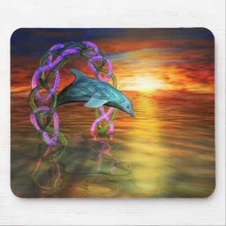 Sunset Celtic Dolphin Mousepad