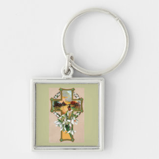 Sunset Christian Cross Silver-Colored Square Key Ring