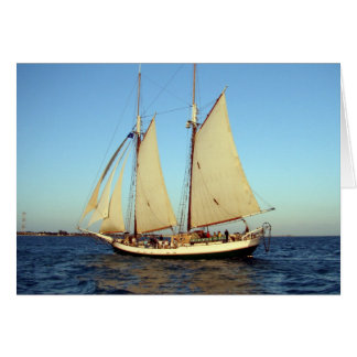 sunset clipper ship greeting card