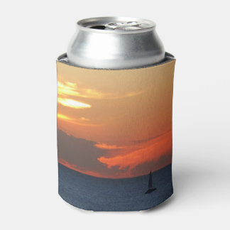 Sunset Clouds and Sailboat Seascape Can Cooler